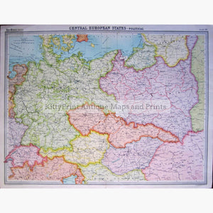 Antique Map Central European States-Political 1922 Maps