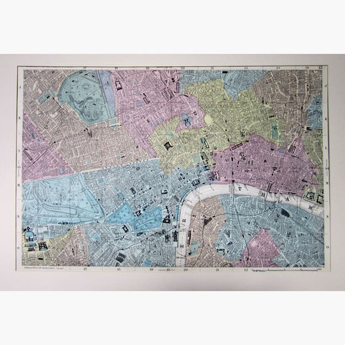 Antique Map Central London c.1895 Maps