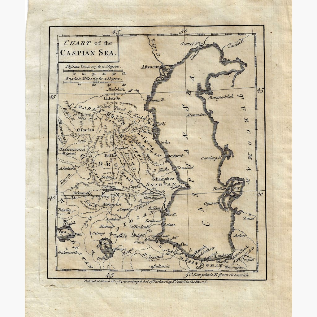 Antique Map Chart of the Caspian Sea 1784 Maps