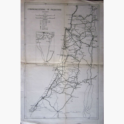 Antique Map Communications of Palestine c.1935 Maps