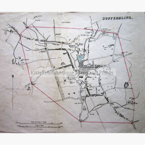 Antique Map Dunfermline 1832 Maps
