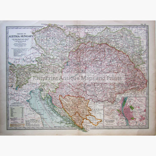 Antique Map Empire of Austria-Hungary 1902 Maps