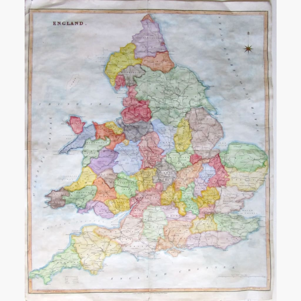 Antique Map England Large 1830 Maps