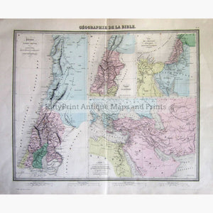 Antique Map Geographie De La Bible 1863 Maps