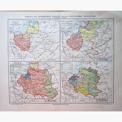 Antique Map Geschichte Polens Polish History 1906 Maps