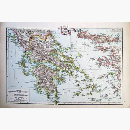 Antique Map Greece 1895 Maps