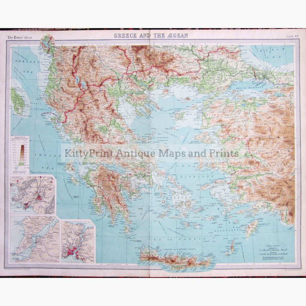 Antique Map Greece and the Aegean 1922 Maps