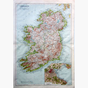 Antique Map Ireland 1910 Maps