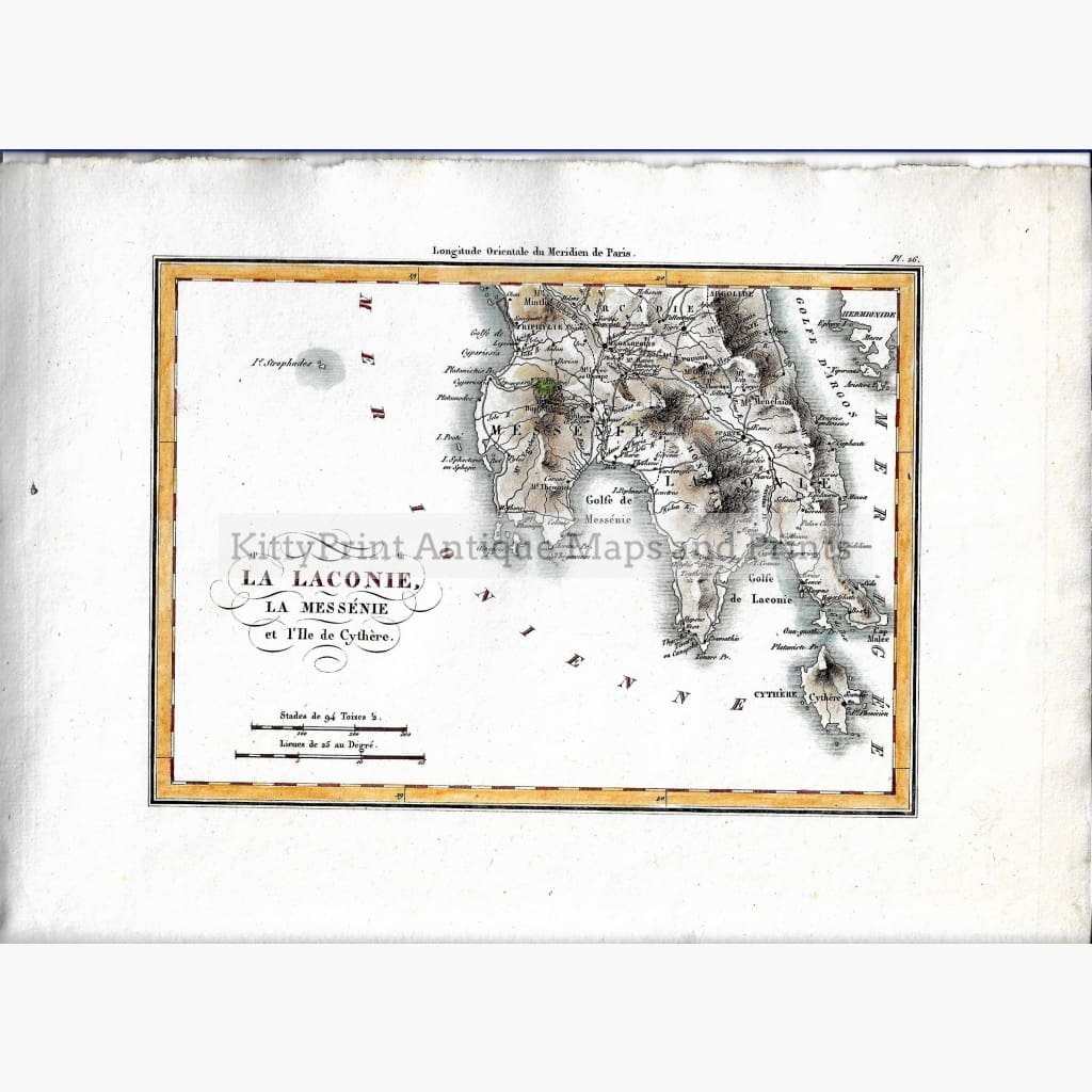 Antique Map La Laconie La Messenie 1824. Maps