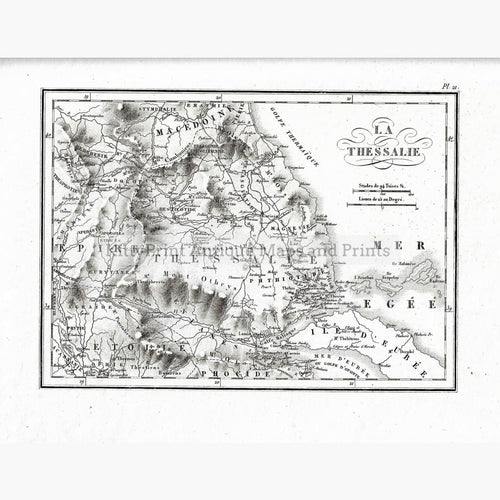 Antique Map La Thessalie 1824 Maps