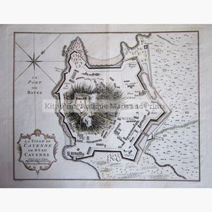 Antique Map La Ville Cayenne 1747 Maps