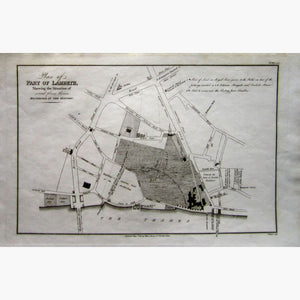 Antique Map Lambeth,1813 Maps