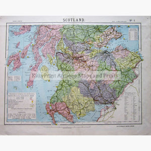 Antique Map Lettss Map of Scotland No.1 1881 Maps