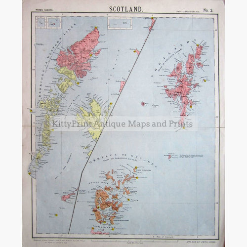Antique Map Lettss Map of Scotland No.3 1881 Maps