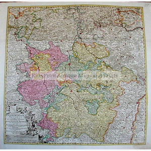Antique Map Lotharingiae showing Luxembourg 1710 Maps