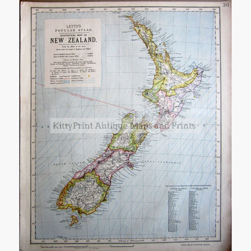 Antique Map New Zealand 1884 Maps
