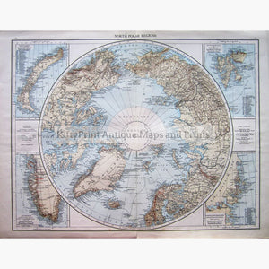 Antique Map North Polar Regions 1895 Maps
