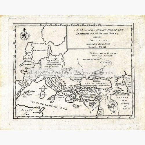 Antique Map of the First Colonies of Japhet 1780 Maps