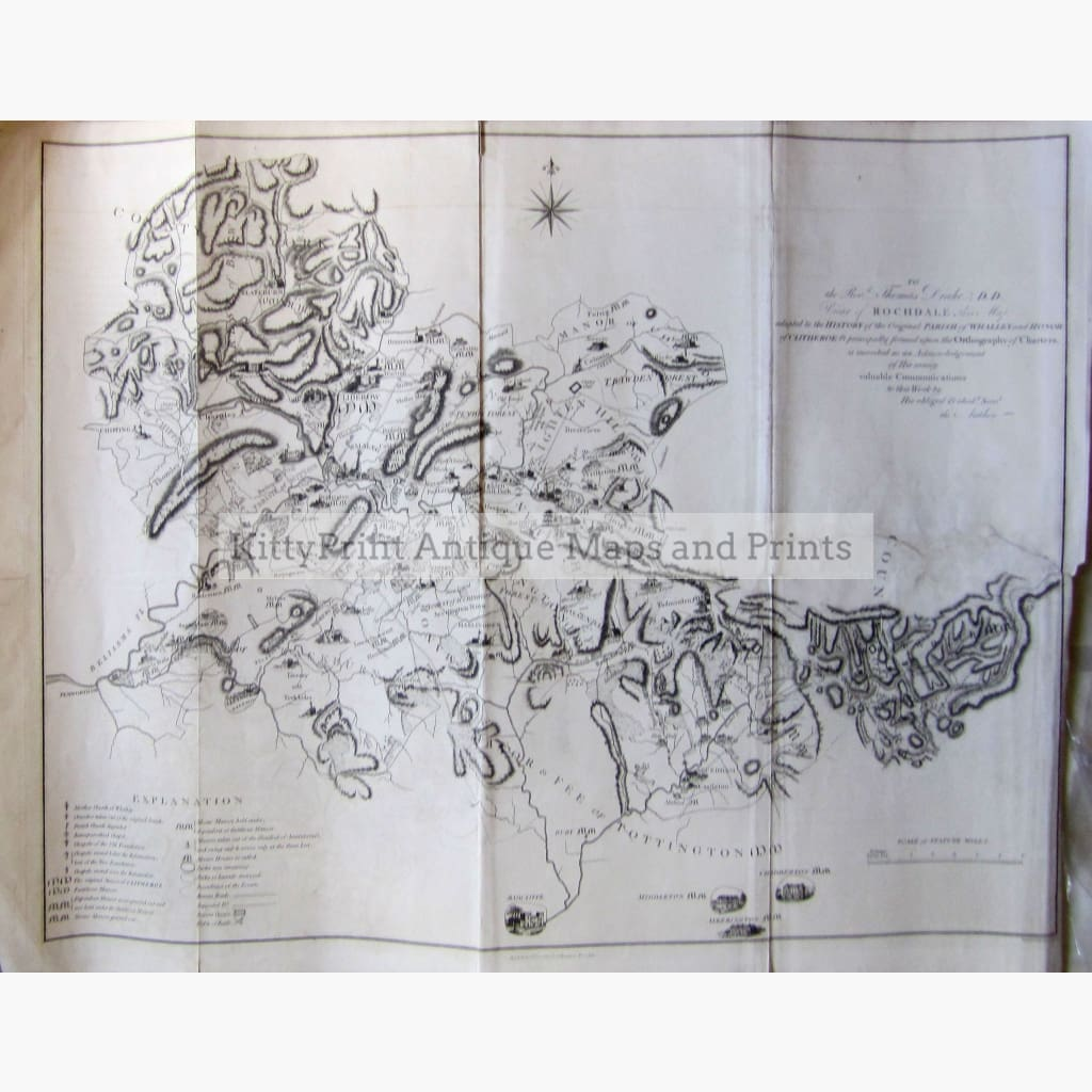 Antique Map of Whalley and Clitheroe 1801 Maps