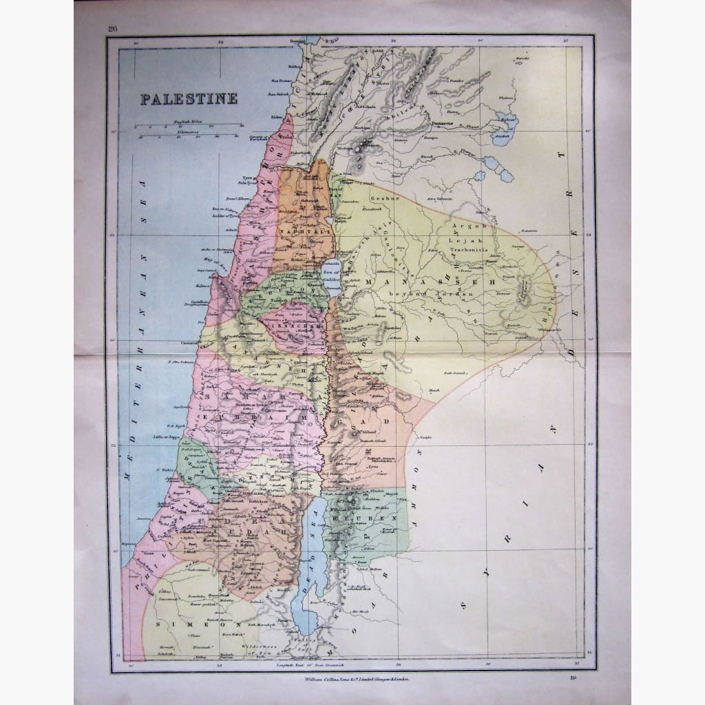 Antique Map Palestine 1878 Maps