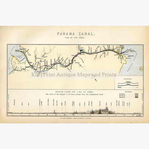 Antique Map Panama Canal 1885 Maps