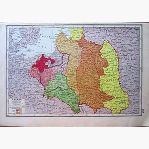 Antique Map Poland Historical 1922 Maps