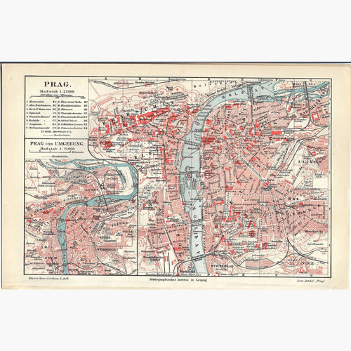 Antique Map Prag Prague 1906 Maps