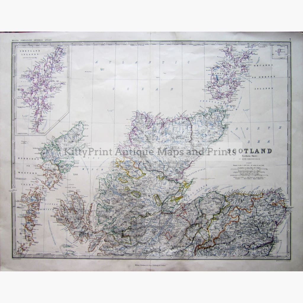 Antique Map Scotland North 1860 Maps