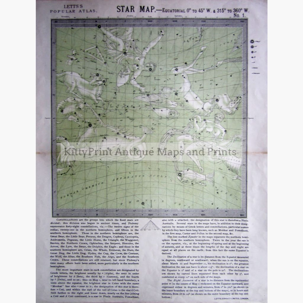 Antique Map Star Map No.1 1884 Prints