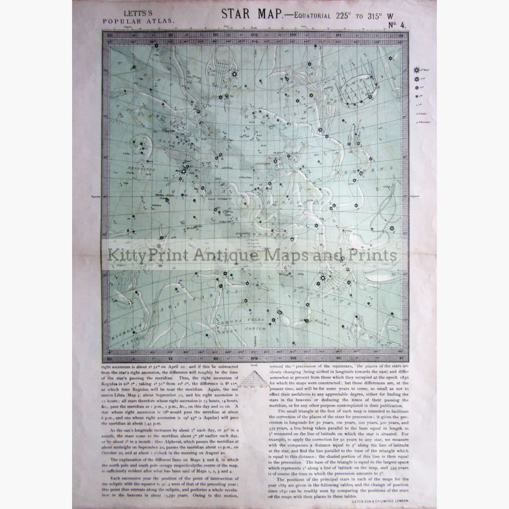Antique Map Star Map No.4 1884 Prints