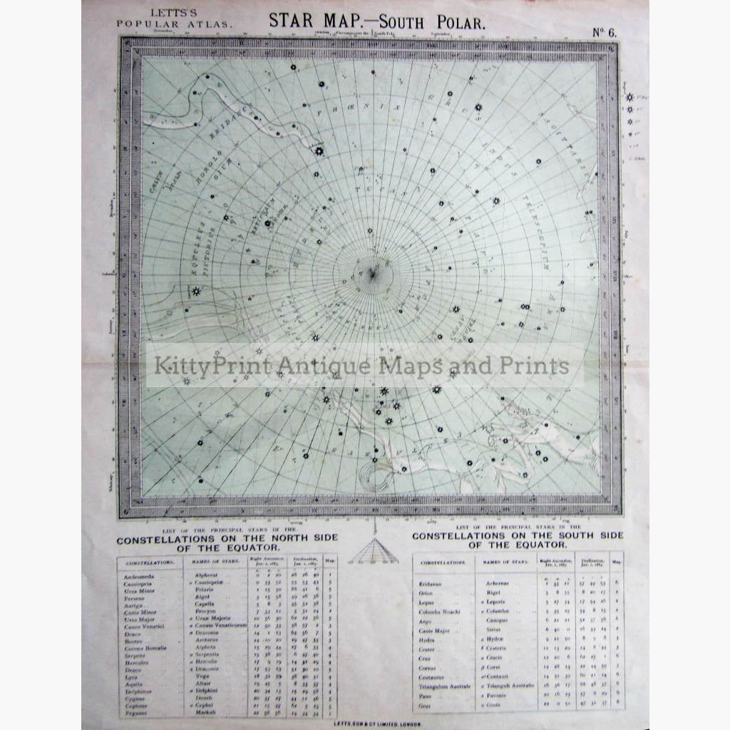 Antique Map Star Map No.6 South Polar 1884 Prints