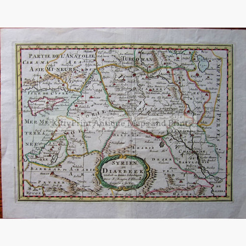Antique Map Syrien en Diarbeek 1705 Maps