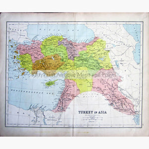 Antique Map Turkey in Asia 1873 Maps