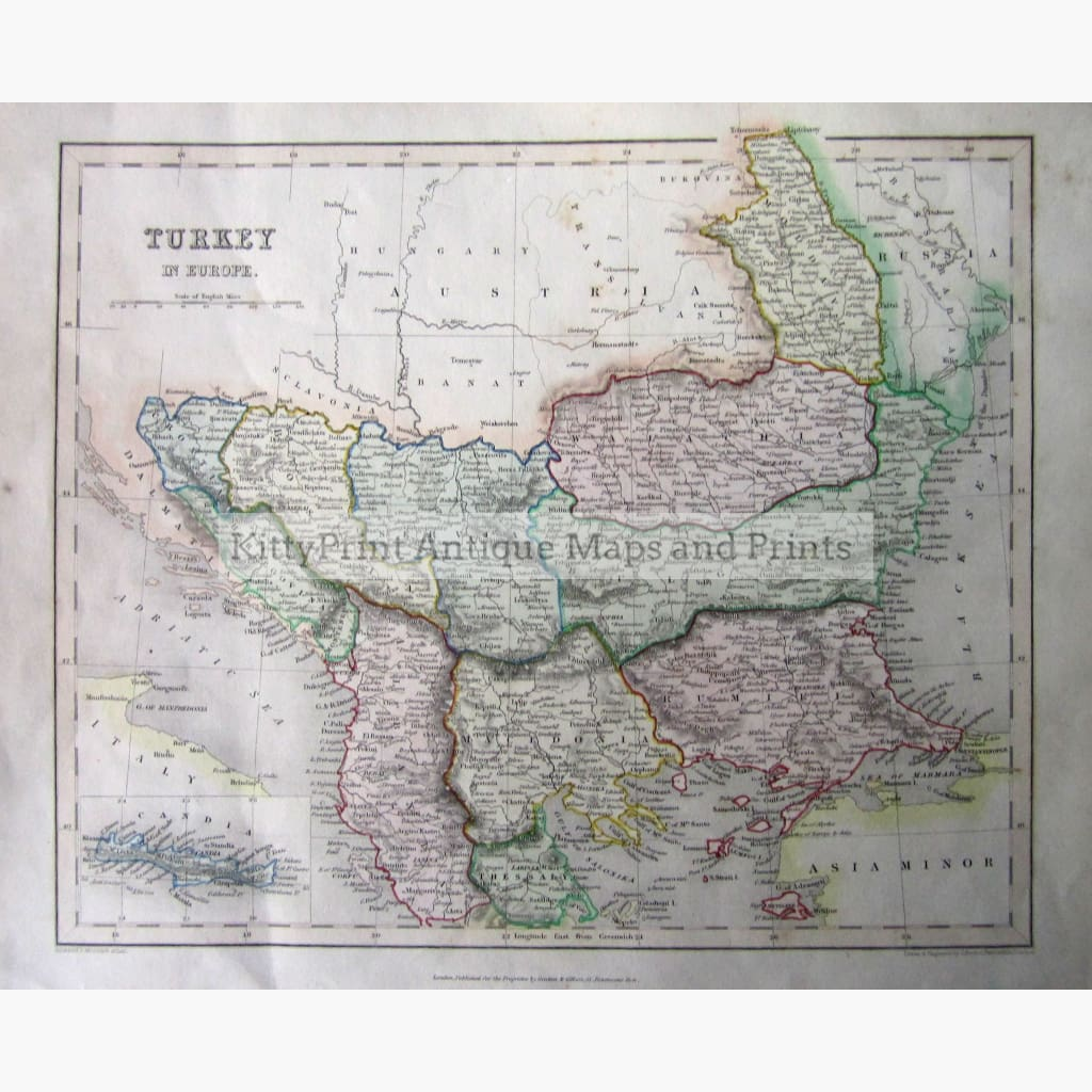 Antique Map Turkey in Europe 1841 Maps