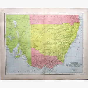 Antique Map Victoria New South Wales,1873 Maps