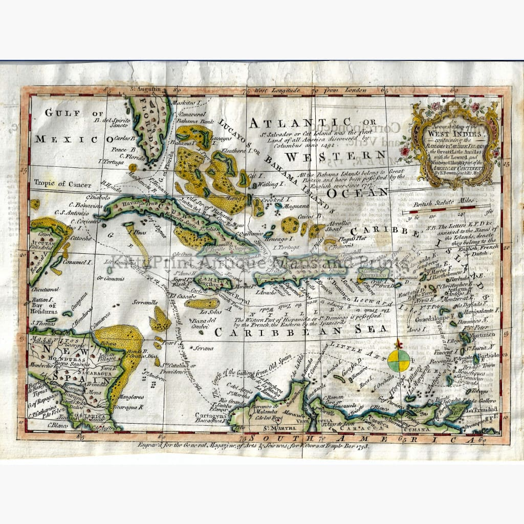 Antique map West Indies 1758 Maps