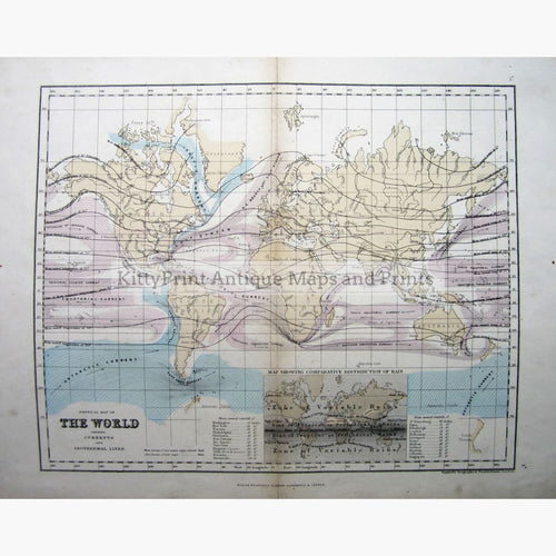 Antique Map,World Currents,and Isothermal Lines,1868 Maps