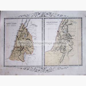 Antique Maps Kingdoms of Judah & Israel 1860 Maps