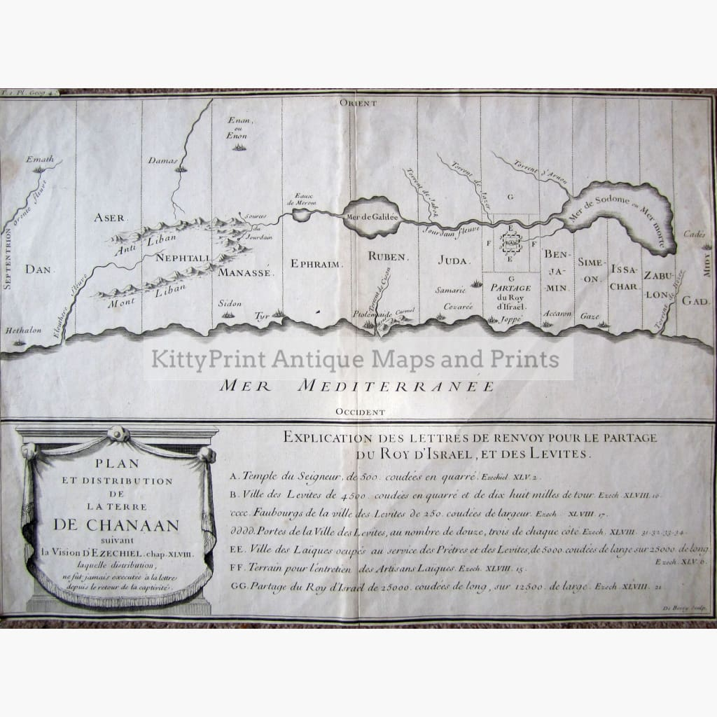 Antique Plan et Distribution de la Terre de Chanaan c.1700 Maps