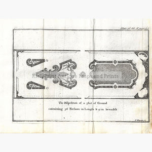 Antique Plan Garden Plot 1760 Prints