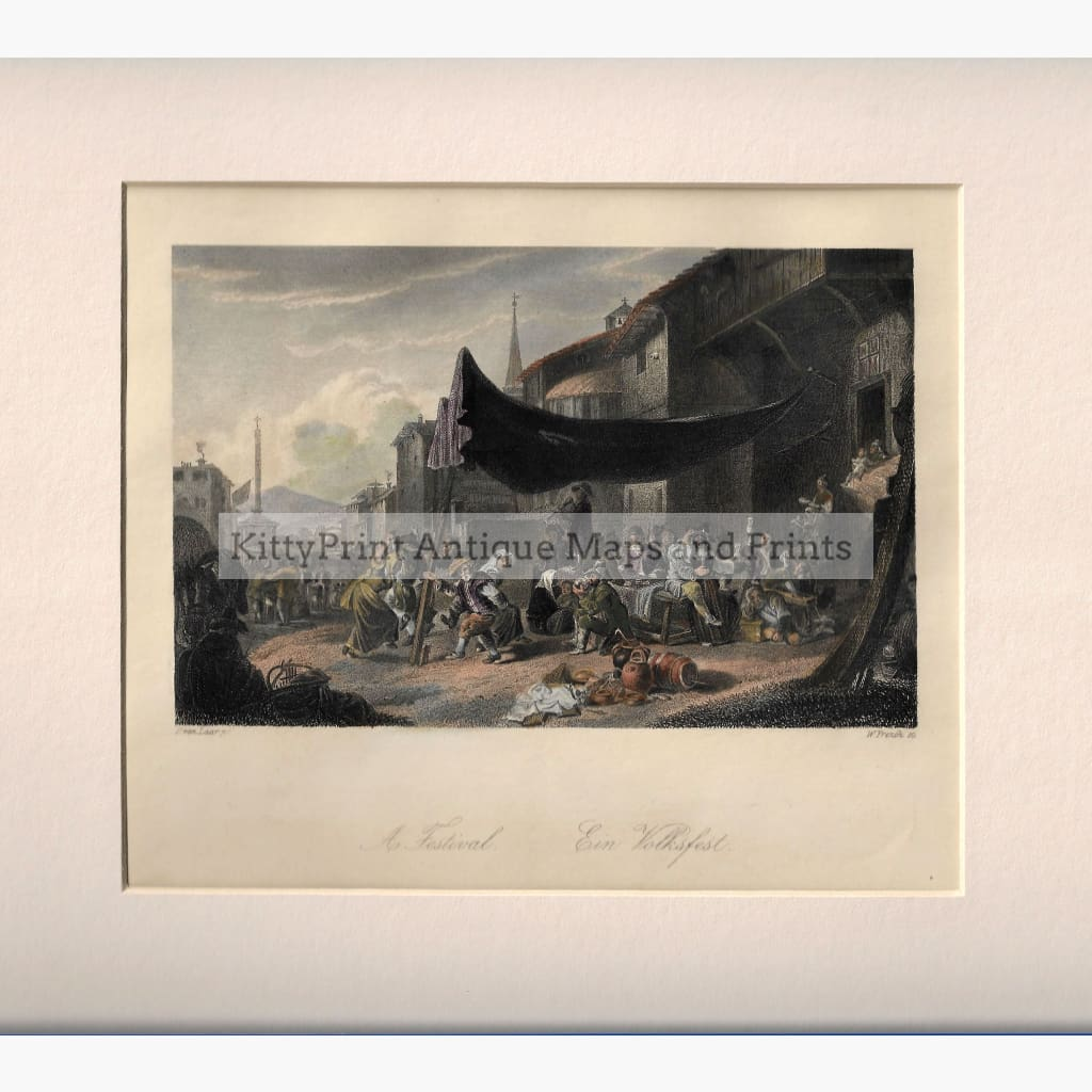 Antique Print A Festival c.1840 Prints