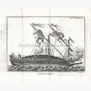 Antique Print A Galley at Anchor Pluche 1737. Prints