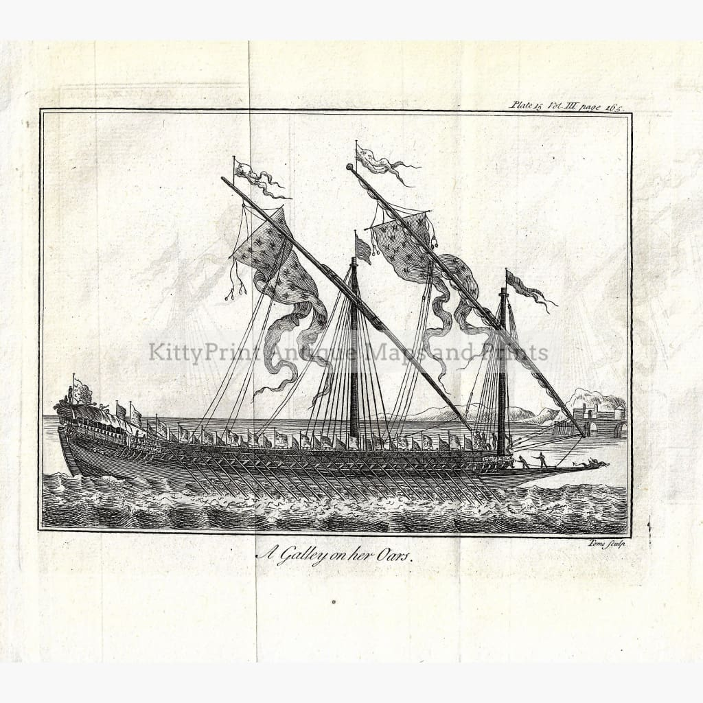 Antique Print A Galley on her Oars Pluche 1737. Prints