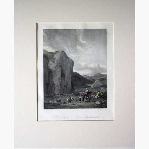 Antique Print A Landscape with Water c.1840 Prints