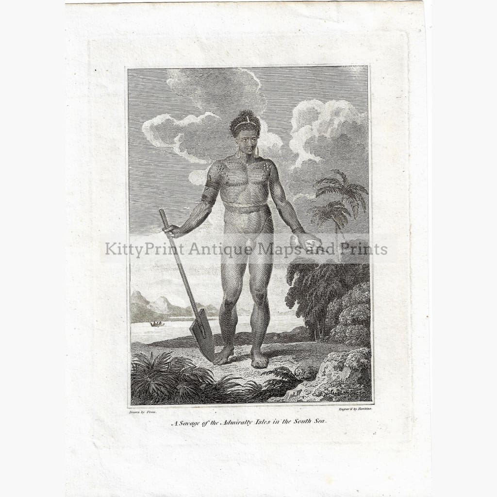 Antique Print A Savage of the Admiralty Isles in the South Sea,1800 Prints