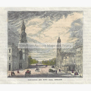 Antique Print Adelaide Post-Office and Town Hall 1880 Prints