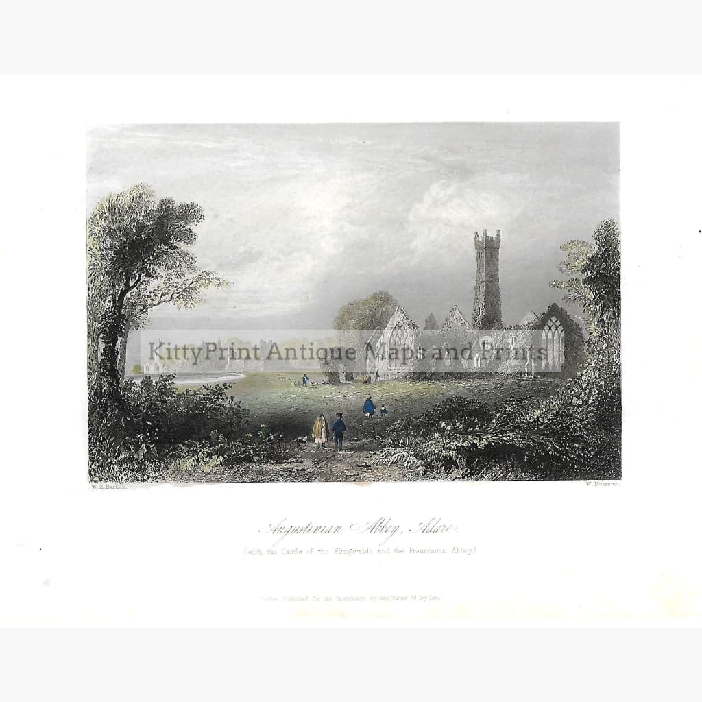 Antique Print Augustinian Abbey Adare 1842 Prints