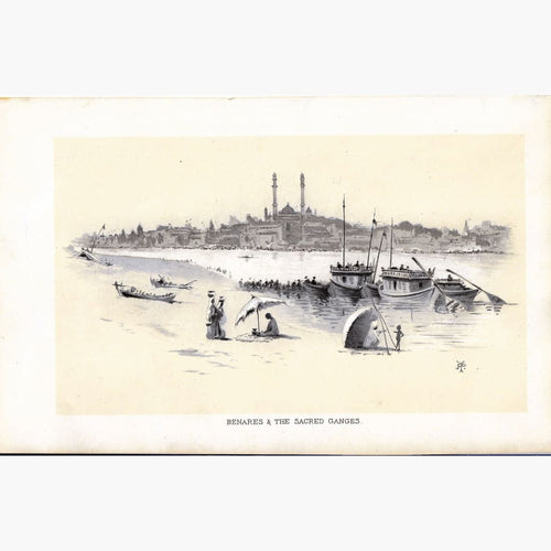 Antique Print Benares & The Sacred Ganges 1850 Prints