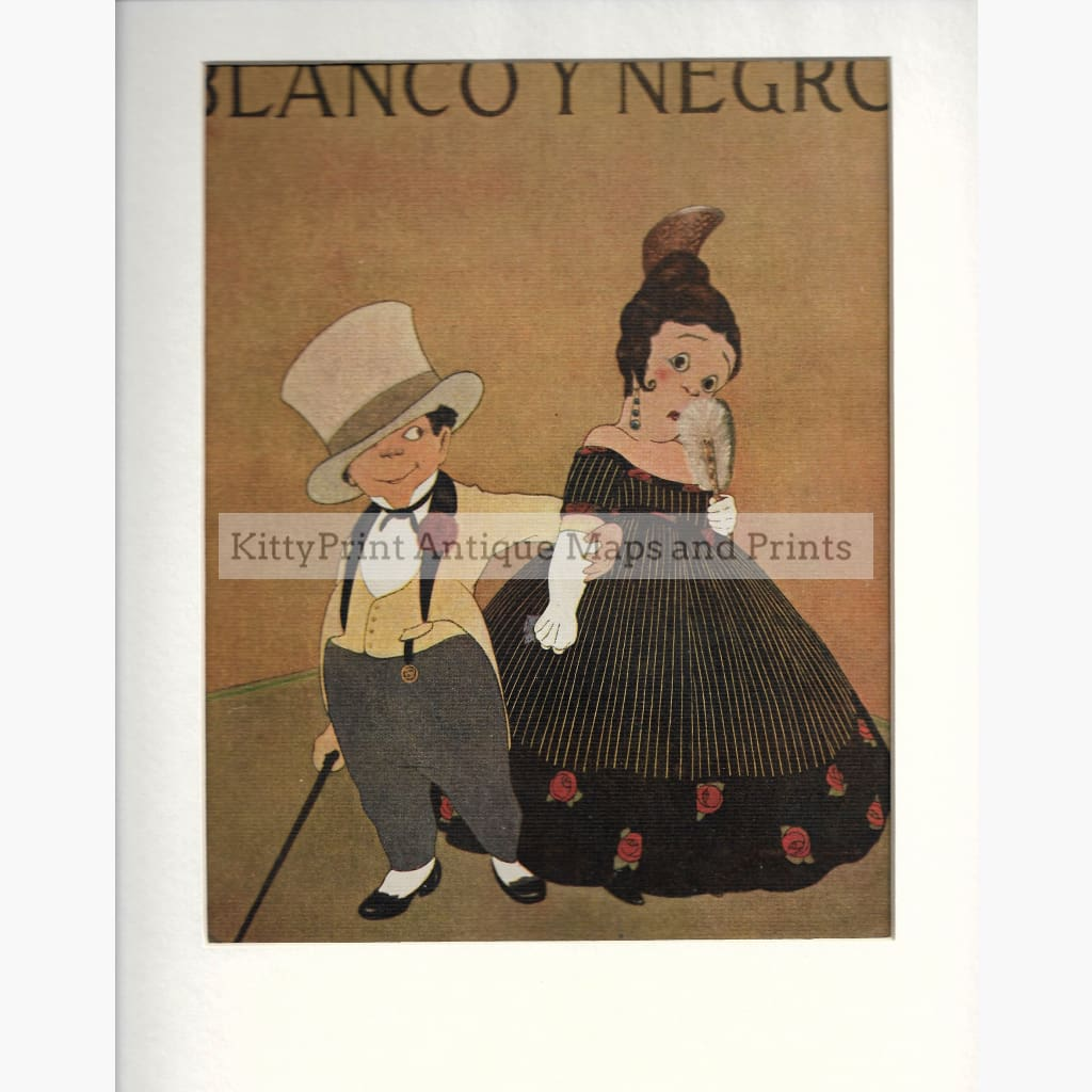 Antique Print Blanco y Negro. c. 1920 Prints