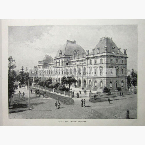 Antique Print Brisbane Parliament House 1886